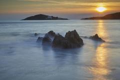 Sunset over Burgh Island, Devon, Great Britain.