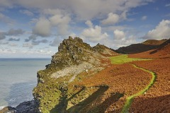 Coastal cliffs at the Valley of Rocks, near Lynton, Exmoor National Park, Devon, Great Britain.