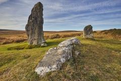 Scorhill stone circle, on Scorhill Down, near Gidleigh, Dartmoor National Park, Devon, Great Britain.
