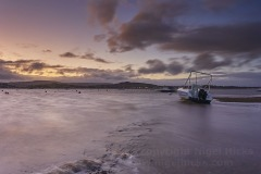 A dusk view of the Exe estuary at low tide, Exmouth, Devon, Great Britain.