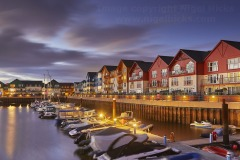A dusk view of the harbour in Exmouth, Devon, Great Britain.