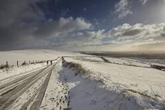 Snow at Kinsford Gate, near Brayford, Exmoor National Park, Devon, Great Britain.