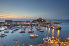 A dusk view of the harbour at Ilfracombe, Devon, Great Britain.