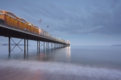 Paignton Pier at dusk, Paignton, Devon, Great Britain.