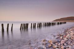 Groyne on the beach at Porlock Weir, near Porlock, Exmoor National Park, Somerset, Great Britain.