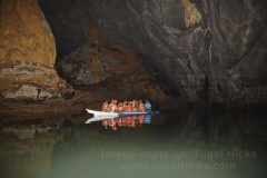 A boat inside the underground river, at Puerto Princesa Subterranean River National Park, Palawan, Philippines.