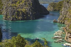 View of Kayangan Lake cove, Coron Island, Calamian Islands, Palawan, Philippines.