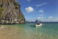 A banca off Seven Commandos Beach, Bacuit Bay, El Nido, Palawan, Philippines.