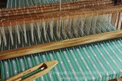 Detail of a cloth on the loom, at Sagada Weaving, Sagada, Mountain province, Luzon, Philippines.