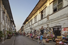 A view of Crisologo St, the heart of the historic Mestizo district, in Vigan, Ilocos Sur, Luzon, Philippines.
