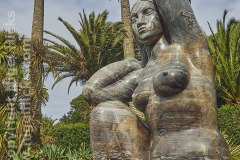 The Gaia statue, in Abbey Garden, Tresco, Isles of Scilly, Cornwall, Great Britain.
