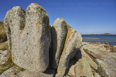 Granite boulders at Rushy Point, Pentle Bay, Tresco, Isles of Scilly, Cornwall, Great Britain.