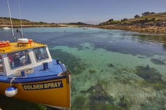 An inter-island ferry at St Agnes, Isles of Scilly, Cornwall, Great Britain.