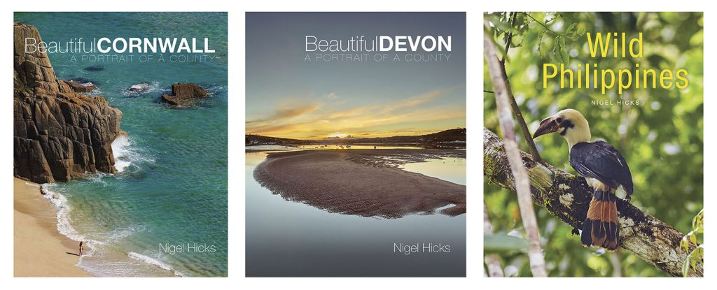 Writing and photography for books: the front covers of Beautiful Cornwall, Beautiful Devon and Wild Philippines.