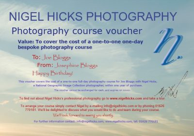 Full day one-to-one photography course gift voucher