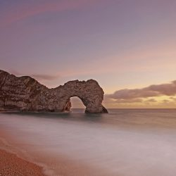 Durdle Door dusk landscape greetings card