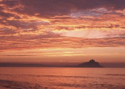 Dawn Mount coastal seascape greetings card