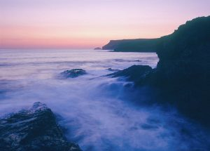 Atlantic dusk coastal landscape greetings card