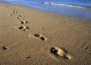 Sandy beach footprints greetings card