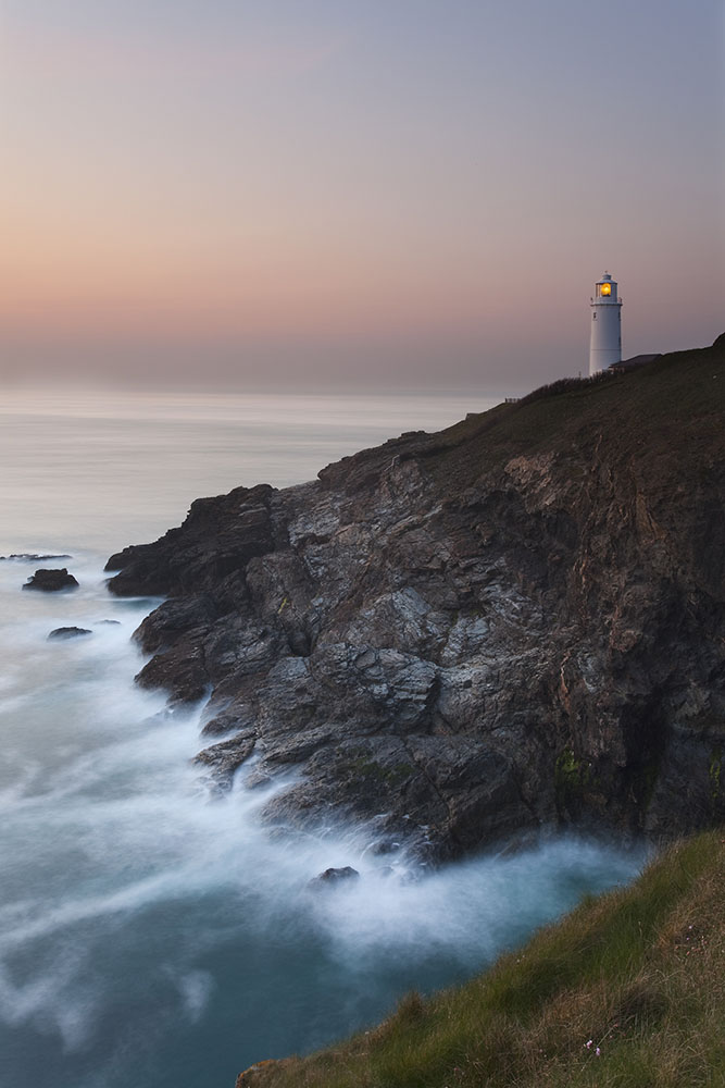 Dusk at Trevose Head greetings card