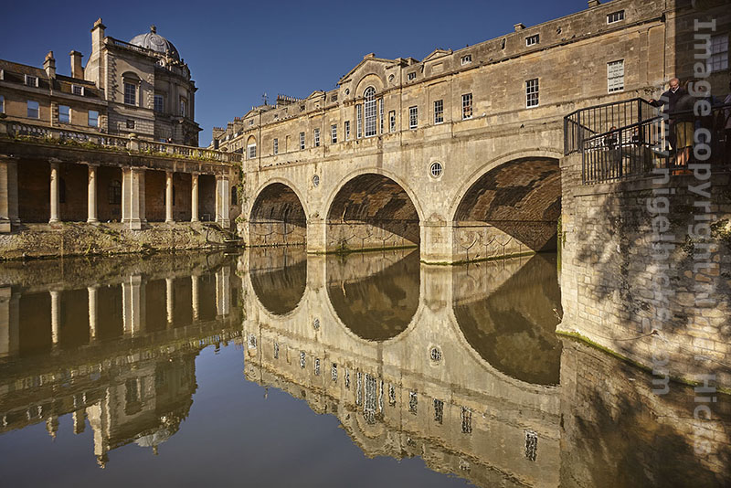 Pulteney Bridge over the River Avon, in Bath, Somerset, Great Britain. Travel and architectural photography course.