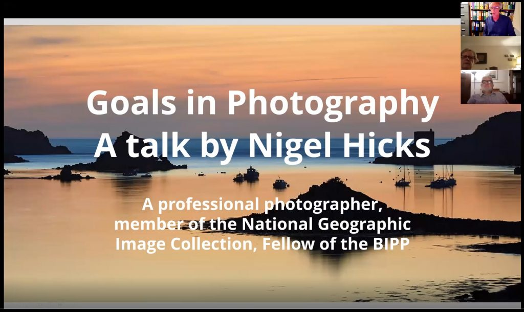 Goals in Photography recorded talk. Programme of free online photography talks.