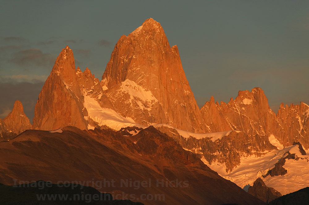 Sunrise on Mte Fitzroy, Patagonia, Argentina. The role of light in photography.