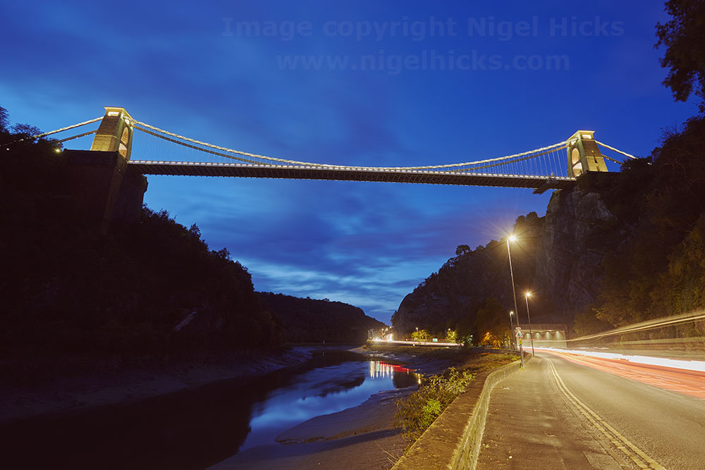 February 2021 Nigel Hicks Photography news. Clifton Suspension Bridge at dusk, Bristol.