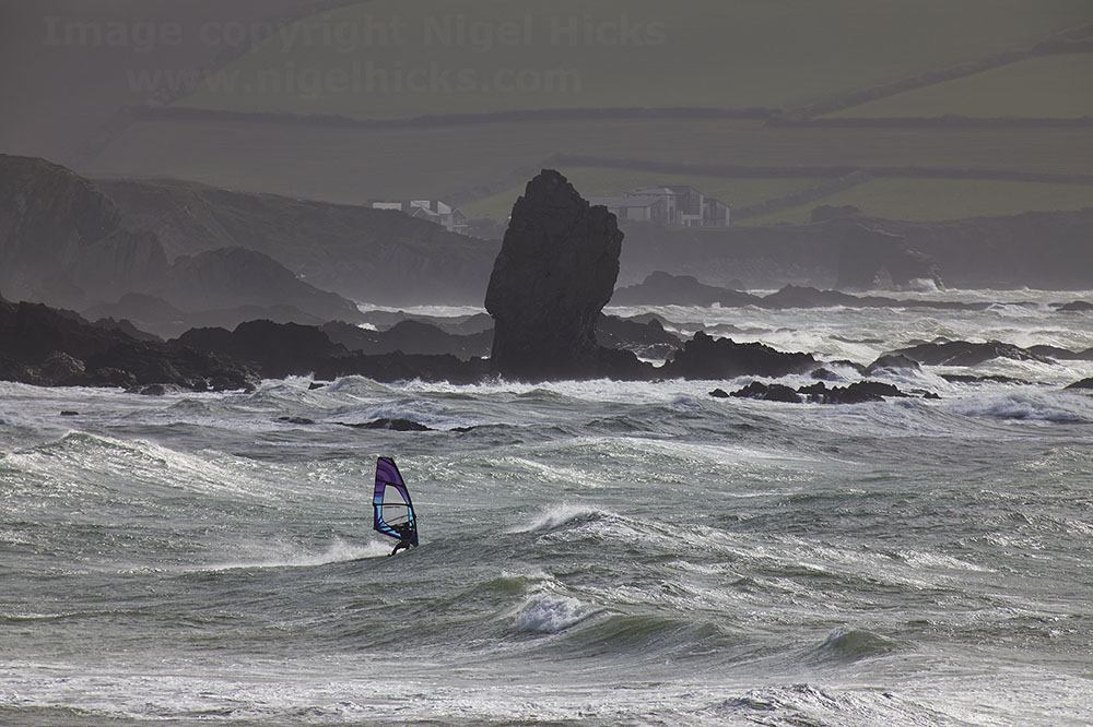 March 2021 Nigel Hicks Photography News. Windsurfing at Bigbury-on-Sea, Devon.