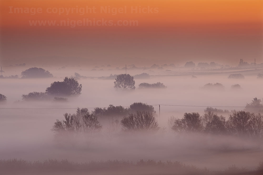 Dawn over the Somerset Levels: low light photography.