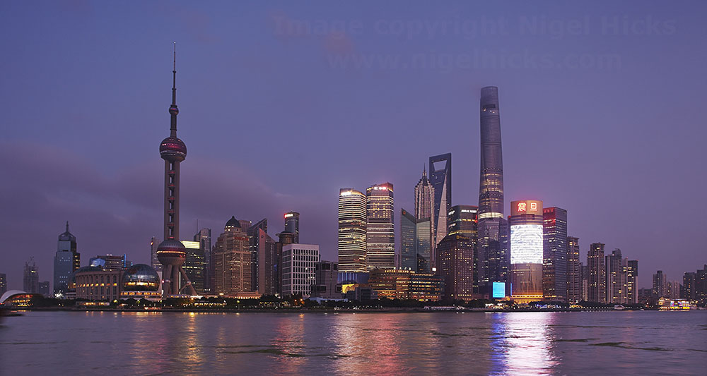 Shanghai skyline at dusk: low light photography.