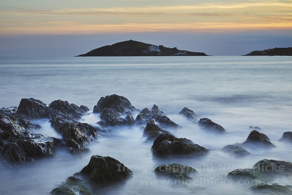 Burgh Island at dusk. Sand, cliffs and islands