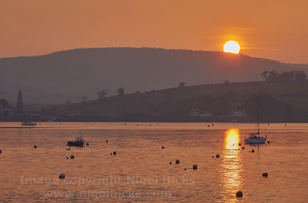 Sunset over the River Exe, Devon; Low light photography course