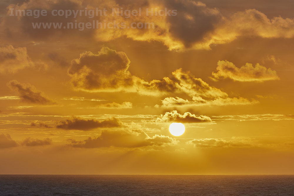 Sunset over the Atlantic; Devon's rugged Atlantic coast