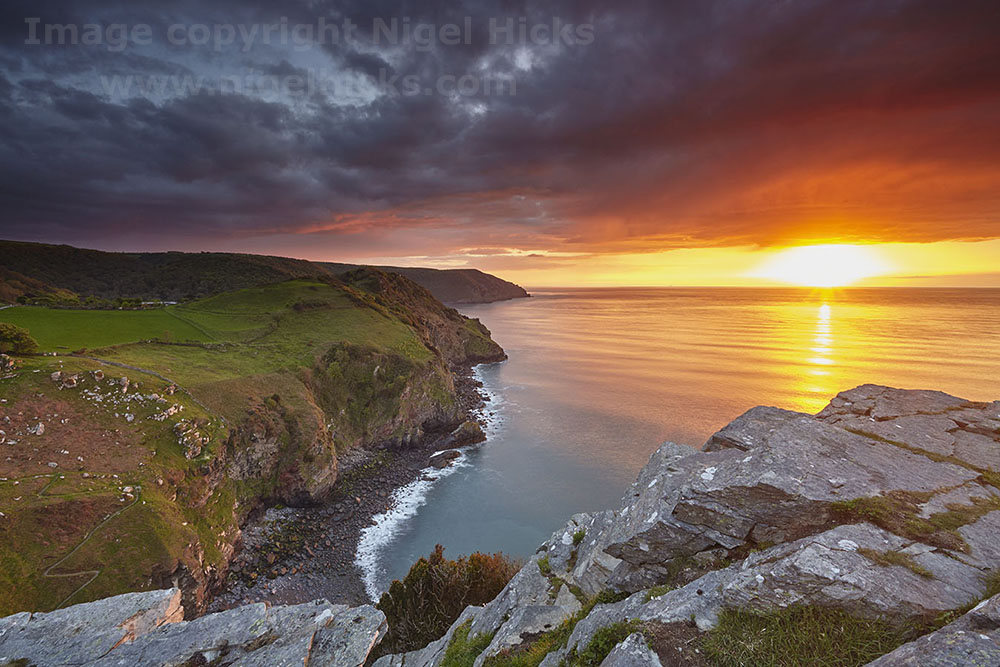 Sunset seen from the Valley of Rocks; Exmoor
